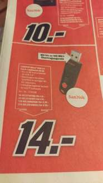 SanDisk Ultra USB 3.0 Stick verschiede Größen [Mediamarkt]