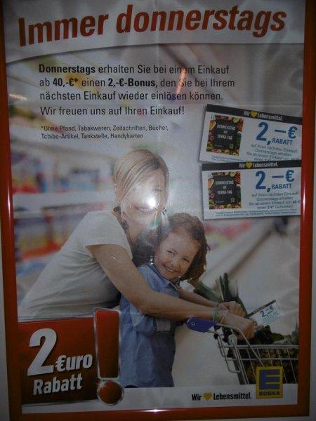 [LOKAL, EDEKA Hoppstädten & Birkenfeld] 2 Euro Einkaufsgutschein ab 40 Euro Einkauf (immer donnerstags) = 5% Rabatt