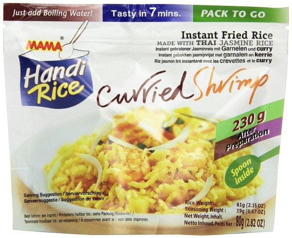 Amazon Prime : Mama Gebratener Instant Jasminreis mit thailändischem Curry und Garnelen, 10er Pack (10 x 80 g) Nur  9,58 € statt 17,90 €