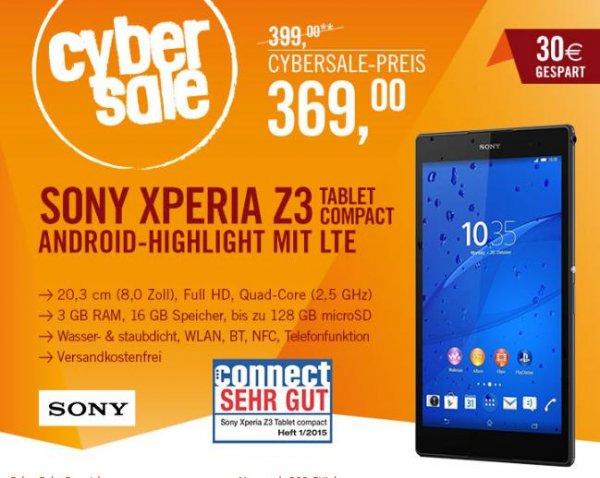 Sony Xperia Z3 Tablet Compact schwarz 16GB LTE 369€ @ Cyberport