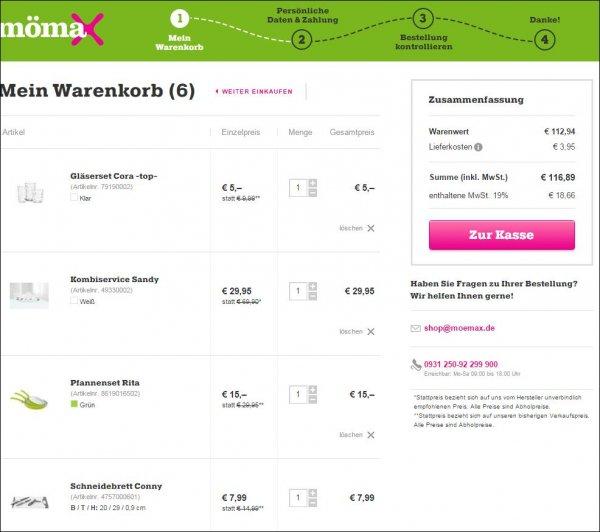 Küchen-Grundausstattung für die erste Wohnung nur 117,- EUR @ moemax