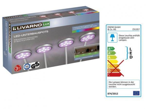 [Lidl] LIVARNO LUX LED-Unterbauspots Unterbauleuchte LED 4 Spots Farbwechsel - ab 14.01 für 14,99€ oder Sofort für 19,94€ (Online)
