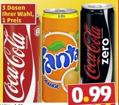 3 Dosen Cola / Fanta oder Cola Zero  0,33l für 0,99€ bei Penny
