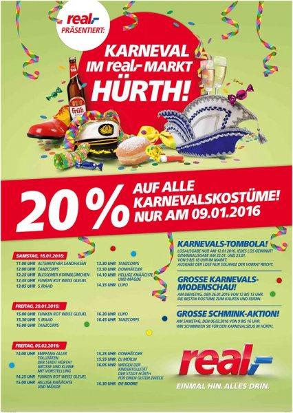 real Markt Hürthpark: 20% auf alle Karnevalskostüme nur am 9.1.16