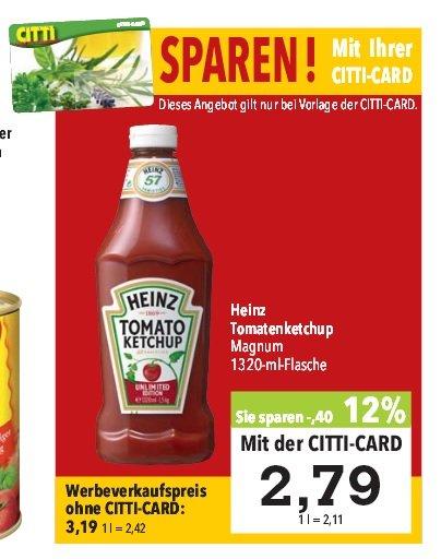 [Citti]  Heinz Tomatenketchup xxxl Magnum 1320-ml-Flasche 2,79€