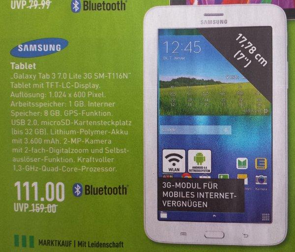 (Lokal Marktkauf) Samsung GALAXY Tab 3 7.0 Lite T116N Tablet 3G 8 GB  für 111€
