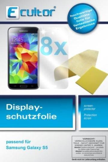 8x Samsung Galaxy S5 Schutzfolie klar - Ecultor incl. Tuch & Rakel