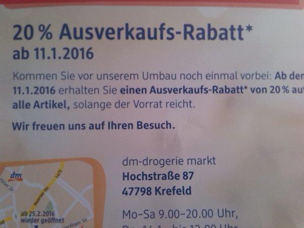 [lokal] Krefeld 20% Ausverkaufs-Rabatt bei Dm am 11.01 Ovomaltine für 2,36€