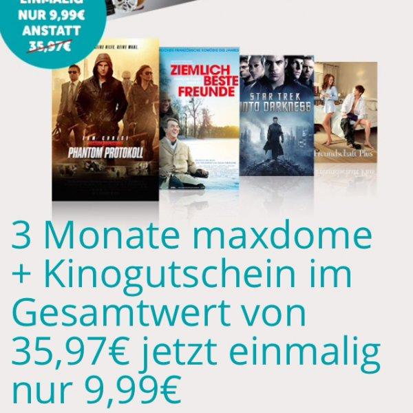 [Online] 3 Monate Maxdome + Cinestar Kinogutschein, für Neu- und Bestandskunden (Gesamtwert des Angebotes 35,97€, für 9,99€!)