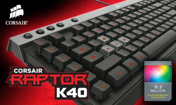 Corsair RAPTOR K40 Gamer-Tastatur (36KB Onboard-Speicher, programmierbare G-Tasten, Anti-Ghosting, Key-Rollover, Tastaturbeleuchtung) für 45 € statt 73 €, @ZackZack