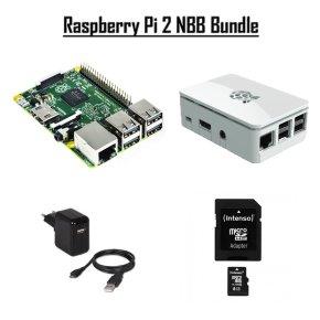 Raspberry Pi NBB-Bundle - Raspberry Pi 2 Model B + Gehäuse + Netzteil + 8GB Speicherkarte für 52,98 Euro