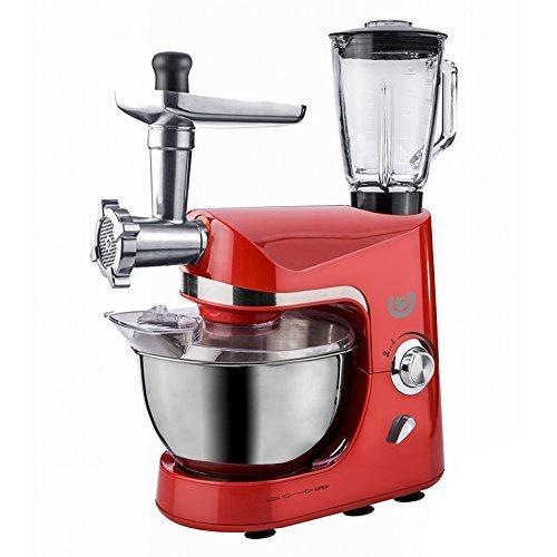 Küchenmaschine 1800 Watt Rot mit vielen Teilen