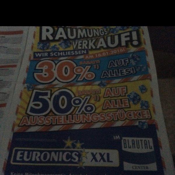 Euronics Ulm Xxl schließt ab 16.1.16    30% auf alles außer siehe Punkt 1 und 50% auf alle Aussteller