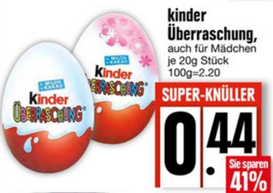 [LOKAL Edeka München und Umgebung] kinder Überraschung für 0,44€ (viele weitere bayrische Städte im Deal)