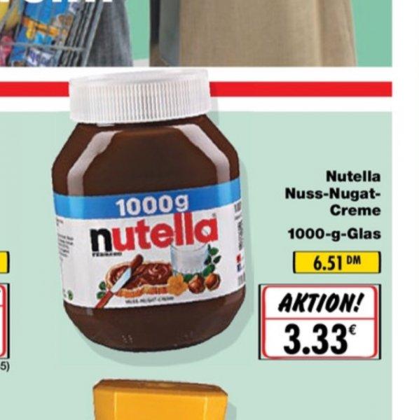 Nutella 1000g für 3,33€