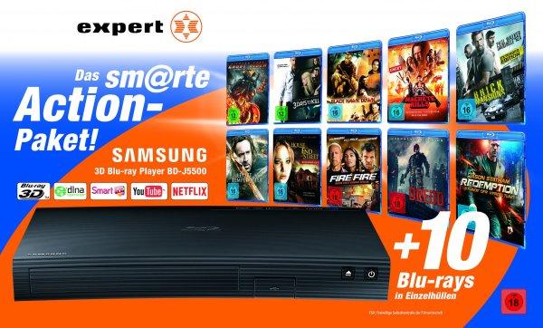 Samsung BD-J5500 Blu-Ray Player + 10 Filme für 99,- Euro lokal bei Expert Klein