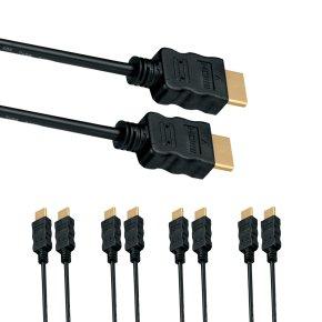 [notebooksbilliger.de] 5er Pack HDMI Kabel - 1.5m - 3D ARC 4K 2160P - vergoldet