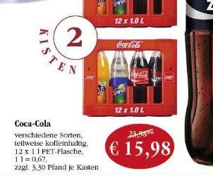 [Sky Coop Supermärkte] 2 Kisten Coca Cola / Fanta / Sprite 24*1l für 15,98 + Pfand