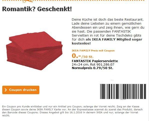 Ikea FANTASTISK Papierserviette, rot für effektive 0€