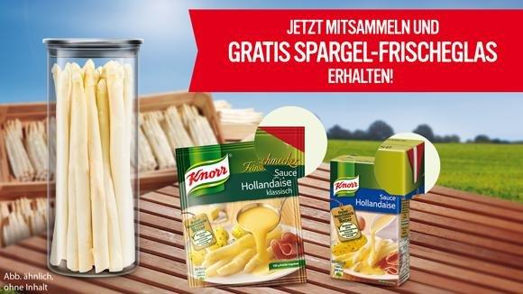 1 Spargel-Frischeglas Gratis bei Sammlung von 6 roten Ecken der KNORR Sauce Hollandaise-Produkte