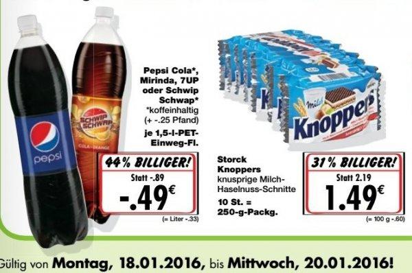[Kaufland] Bundesweit Knoppers 10er Packung für 1,49€ und Pepsi,Mirinda 7up oder Schwipp-Schwapp je 1,5 Liter für 0,49€