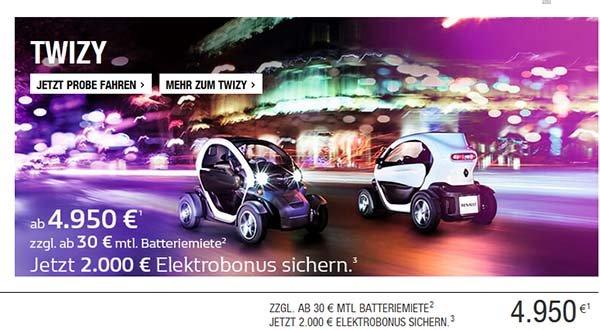 Das Elektroauto Renault Twizy 2.000 Euro günstiger