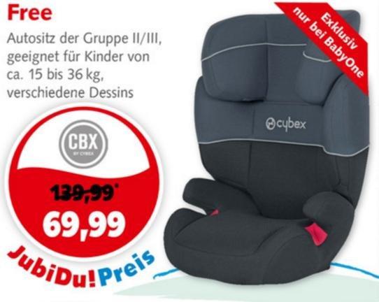 [BabyOne bundesweit] Kinderautositz Cybex Free 15kg bis 36kg für 69,99€