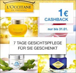 [QIPU] 7 Tage Gesichtspflege von L´Occitane geschenkt + 1€ Cashback + 10€ Gutschein bei 30€ MBW