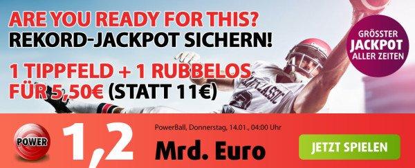 1,2 Milliarden Euro im Powerball Jackpot für 5,50€ (auch Bestandskunden) + Rubbellos