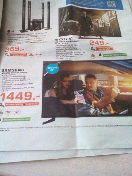 Saturn Berlin-Spandau - Samsung UE65JU6050 1449€ (Idealo: 1599€)