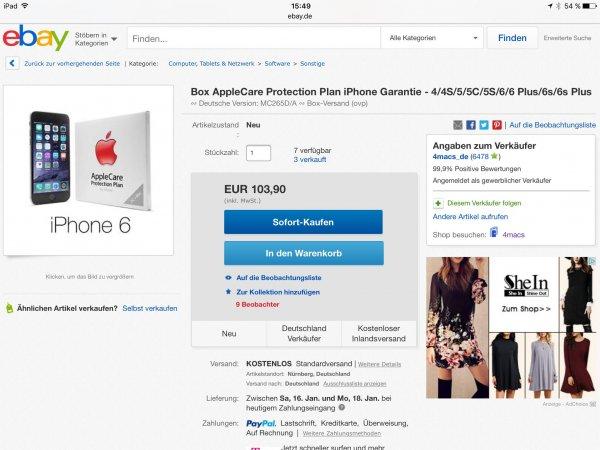 Deutsche Version Apple Care Protection Plan,diesmal 103,90 €