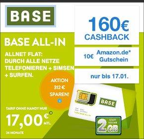 [Qipu] BASE: all-in Tarif – Allnet Flat, SMS Flat, 2 GB, Napster, Datenautomatik deaktivierbar – für 17€ monatlich+ 160€ Cashback + 10€ Amazon - somit effektiv 9,92€ monatlich