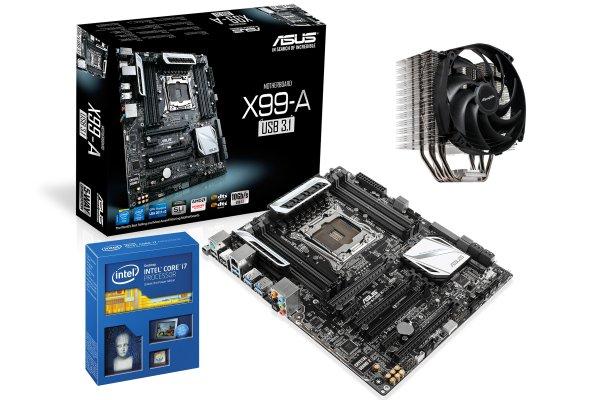 Set aus Intel i7-5820K (6x 3,3Ghz, Turbo 3,6Ghz, HT), ASUS X99-A (8x RAM, 3x PCIe 3.0 x16) und EKL Brocken 2 - 629€ @ Comtech.de