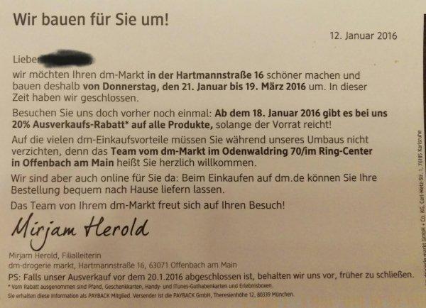 [Lokal Offenbach] 20% Ausverkaufsrabatt bei DM Drogerie Hartmannstr. 16 am 18.01.2016