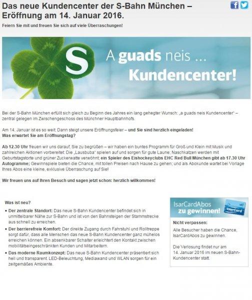 [lokal München] Gratis Torte, Zuckerwatte und kostenlose Gewinnspiele am Donnerstag, 14.Januar @ München Hbf