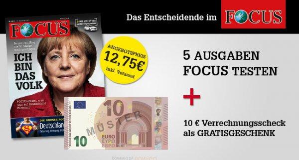 Focus Magazin 5 Ausgaben für 12,75€ + 10 € Verrechnungscheck eff. 2,75€ / 0,55€ pro Ausgabe