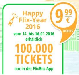 FlixBus - 100.000 Tickets für 9,99€ (Reisezeitraum Januar bis März)