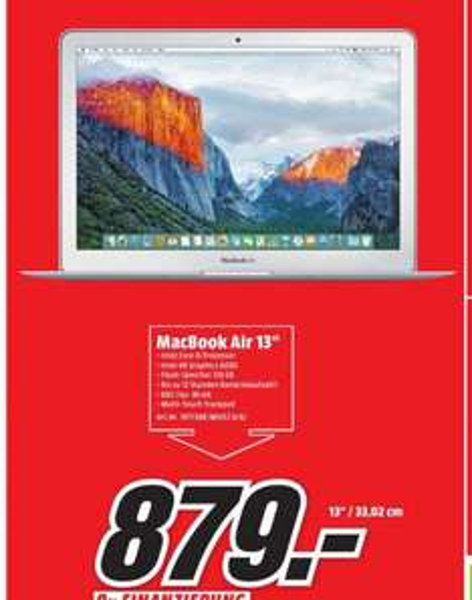 "[Lokal Dortmund] Media-Markt - Apple MacBook Air 13"" 2015 (MJVE2D/A)"