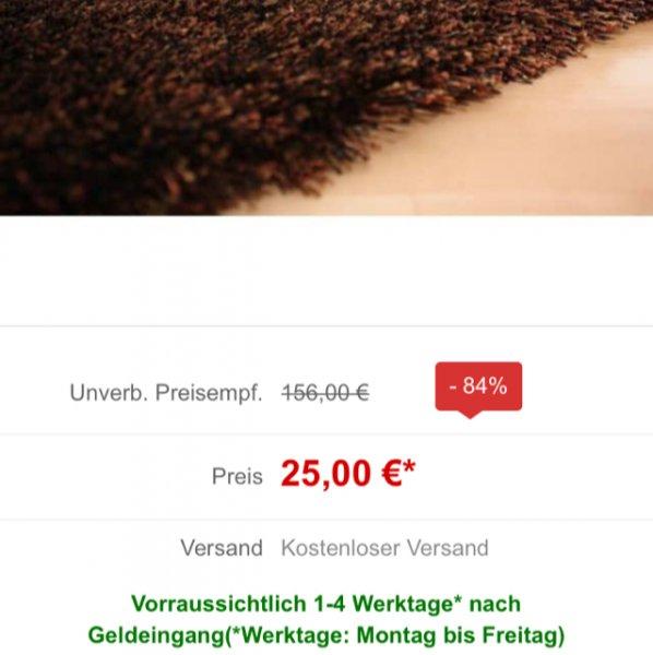 Livingfloor Produkte Sale (z.B. Teppich Shaggy 90x160 für 25€ - UVP lt. Livingfloor 156 €)