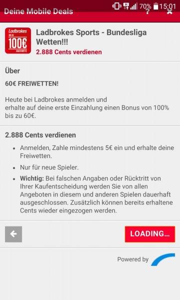 [Scondoo - Mobile Deals] Ladbrokes Sports - Neukunden -> 5€ einzahlen -> 28,88 € Cashback