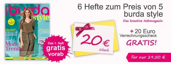 Burda Style 6 Monate Mini Abo für 29,50 + 20€ Verrechnungsscheck