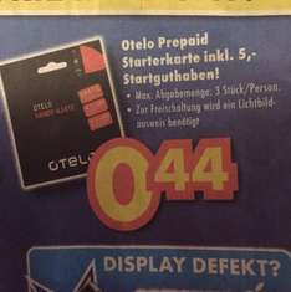 0,44€ Otelo Prepaid Starterkarte ink. 5€ Startguthaben [Euronics XXL Johann-wittmer] Ratingen