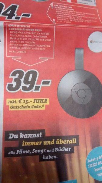 [MediaMarkt bundesweit] Google Chromecast 2 + 15€ Juke Gutschein für 39€