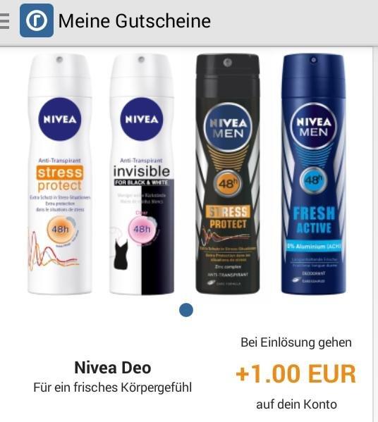 [reebate + NIVEA GZG] 1€ auf Nivea Deo