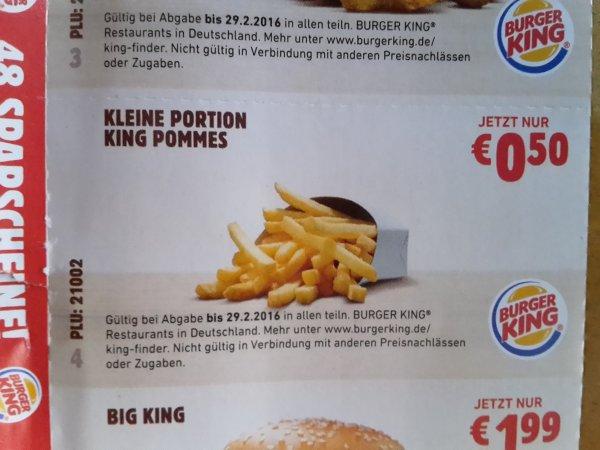 [BurgerKing] Kleine Portion Pommes wieder für 0,50 Euro (Coupon nicht online verfügbar)