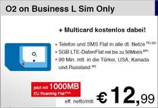 o2 Business L: Alles Drin-Tarif mit 5GB LTE Surf-Flat für 12,99€/Monat netto (18,12€ brutto)