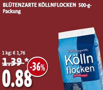 [KAISER'S Bereich Nordrhein und Berlin] Kölln Blütenzarte Köllnflocken 500g-Packung für 88 Cent