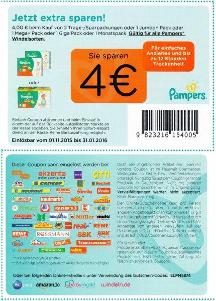 Pampers 4 Euro Coupon nur bis 31.01.2016!!!