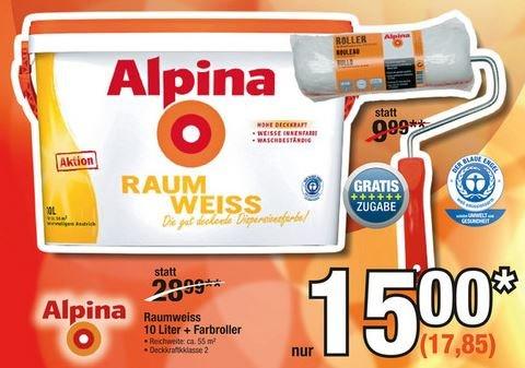 [Metro] Alpina Raumweiß 10 Liter, Wandfarbe mit Roller, 17,85