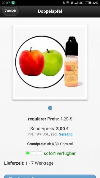 (online) liquid für e zigarette doppel Apfel